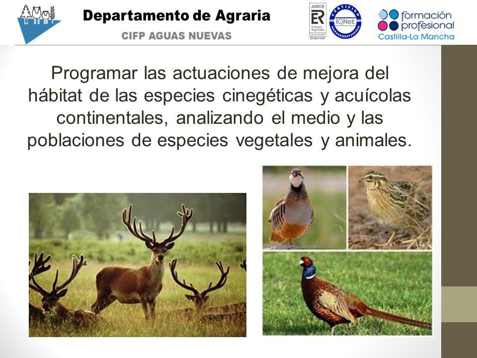 Programar las actuaciones de mejora del hábitat de las especies cinegéticas y acuícolas continentales, analizando el medio y las poblaciones de especi
