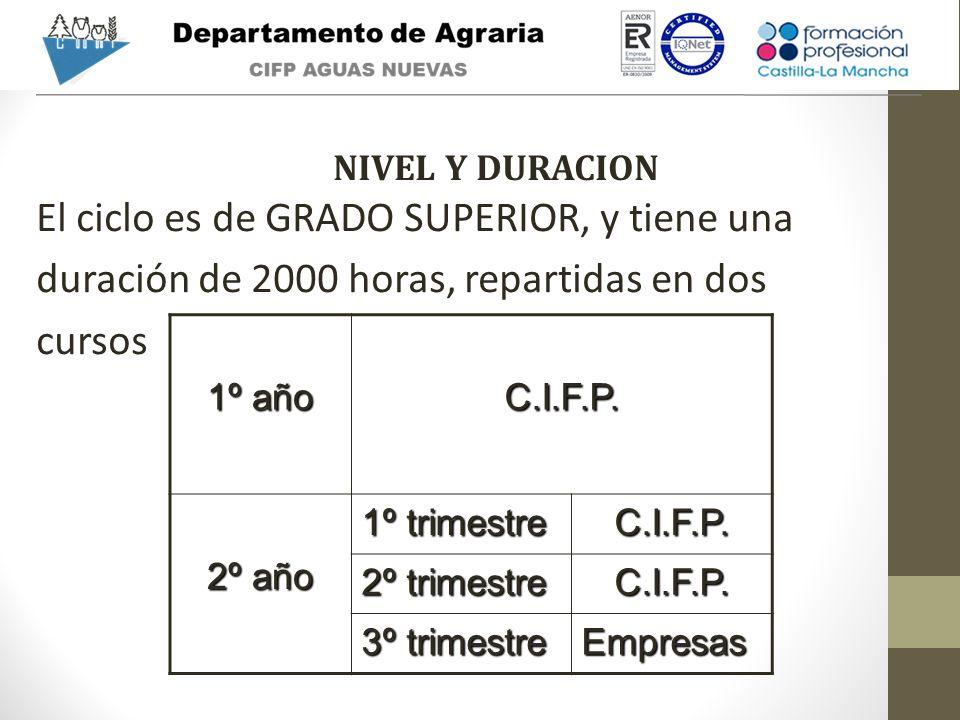 El ciclo es de GRADO SUPERIOR, y tiene una duración de 2000 horas, repartidas en dos cursos 1º año C.I.F.P. 2º año 1º trimestre C.I.F.P. 2º trimestre