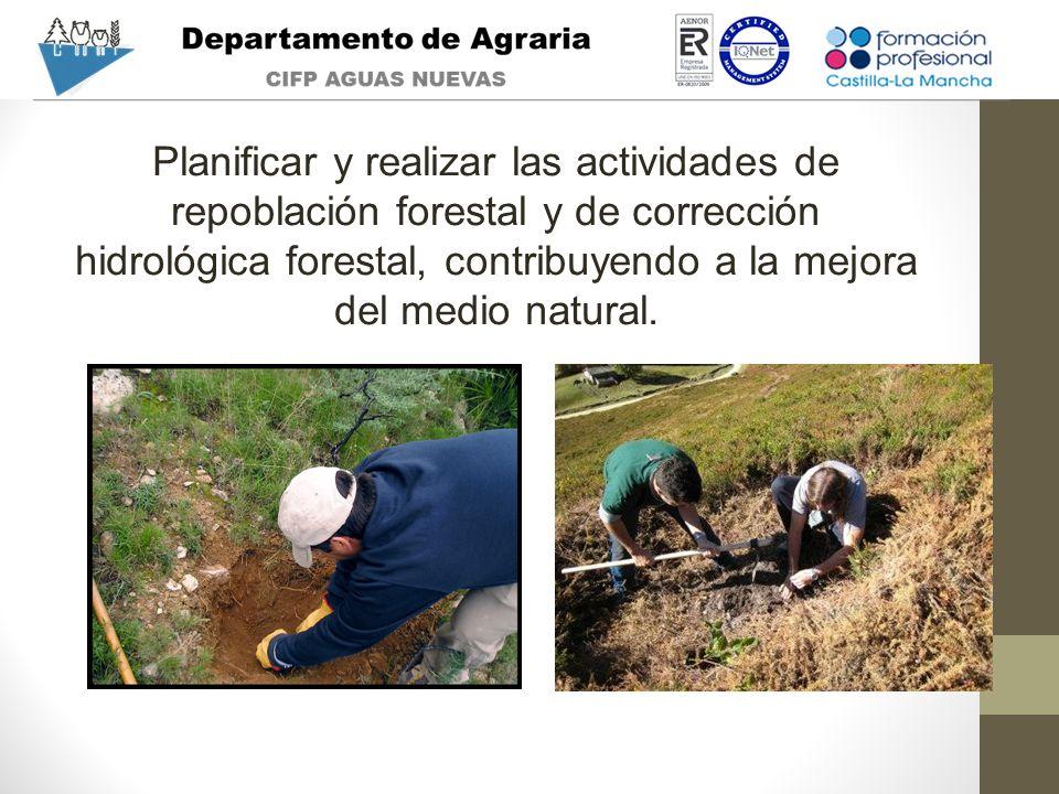 Planificar y realizar las actividades de repoblación forestal y de corrección hidrológica forestal, contribuyendo a la mejora del medio natural.