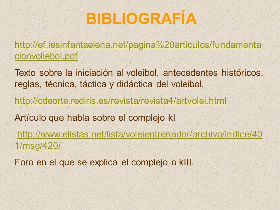BIBLIOGRAFÍA http://ef.iesinfantaelena.net/pagina%20articulos/fundamenta cionvoliebol.pdf Texto sobre la iniciación al voleibol, antecedentes históricos, reglas, técnica, táctica y didáctica del voleibol.