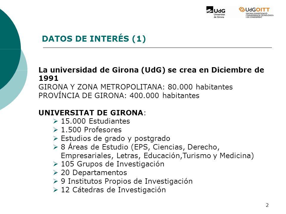 2 La universidad de Girona (UdG) se crea en Diciembre de 1991 GIRONA Y ZONA METROPOLITANA: 80.000 habitantes PROVÍNCIA DE GIRONA: 400.000 habitantes UNIVERSITAT DE GIRONA: 15.000 Estudiantes 1.500 Profesores Estudios de grado y postgrado 8 Áreas de Estudio (EPS, Ciencias, Derecho, Empresariales, Letras, Educación,Turismo y Medicina) 105 Grupos de Investigación 20 Departamentos 9 Institutos Propios de Investigación 12 Cátedras de Investigación DATOS DE INTERÉS (1)