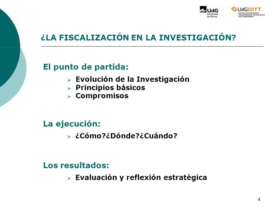 4 Evolución de la Investigación Principios básicos Compromisos ¿LA FISCALIZACIÓN EN LA INVESTIGACIÓN.