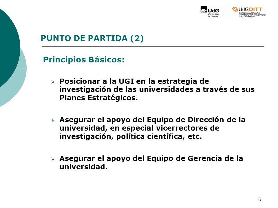 6 PUNTO DE PARTIDA (2) Principios Básicos: Posicionar a la UGI en la estrategia de investigación de las universidades a través de sus Planes Estratégicos.