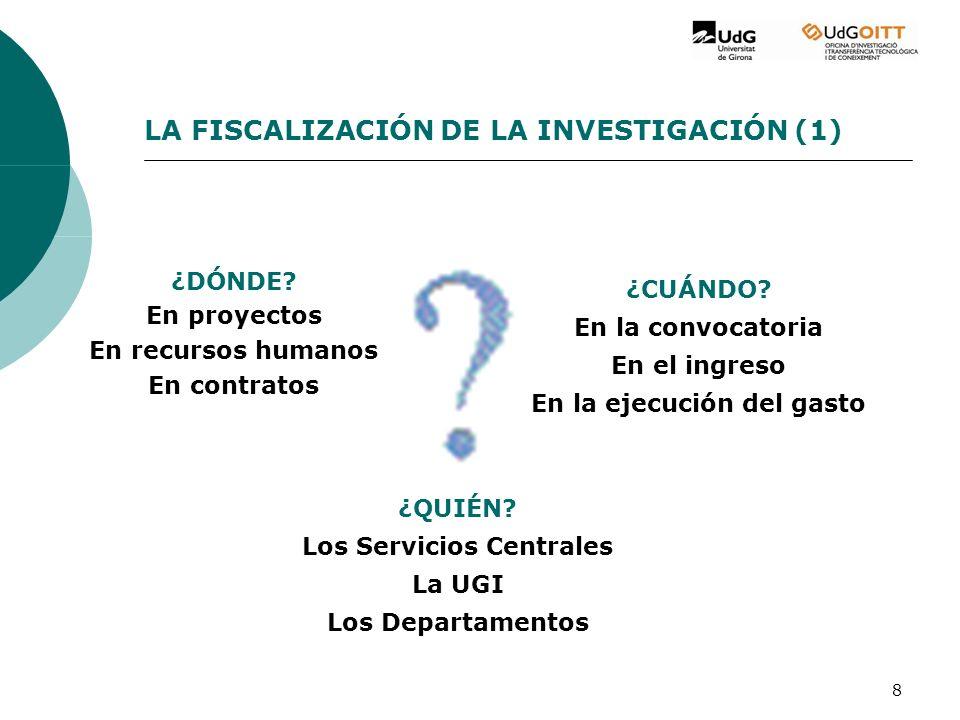 8 LA FISCALIZACIÓN DE LA INVESTIGACIÓN (1) ¿DÓNDE.