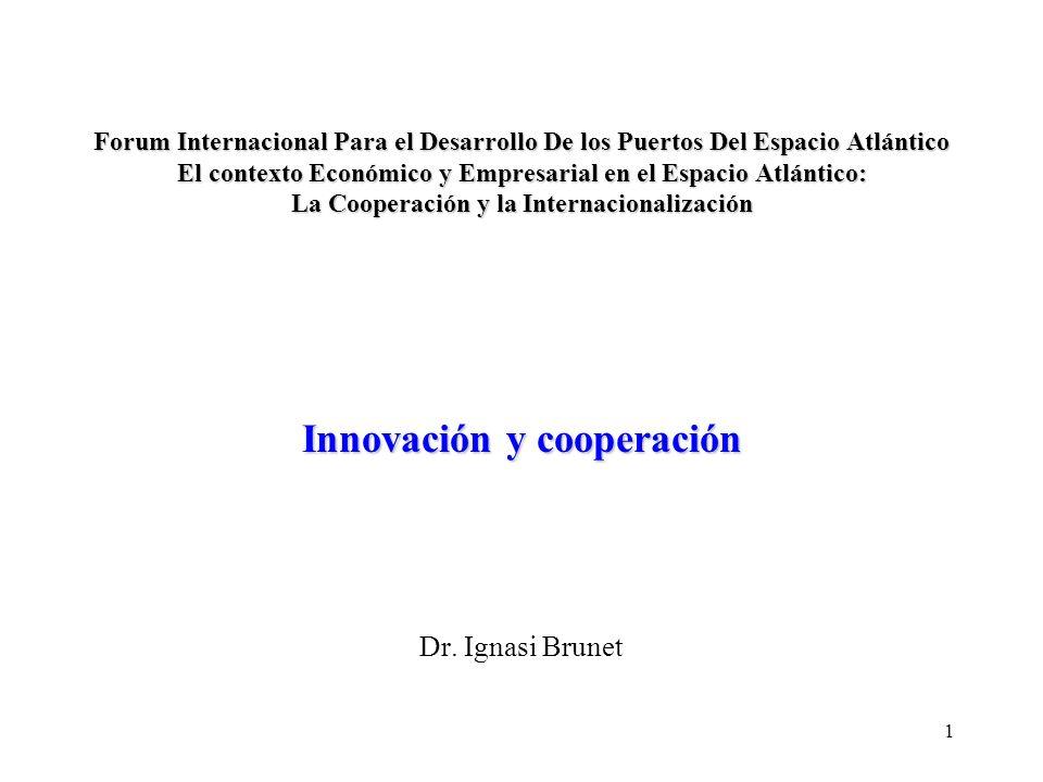 1 Forum Internacional Para el Desarrollo De los Puertos Del Espacio Atlántico El contexto Económico y Empresarial en el Espacio Atlántico: La Cooperación y la Internacionalización Innovación y cooperación Forum Internacional Para el Desarrollo De los Puertos Del Espacio Atlántico El contexto Económico y Empresarial en el Espacio Atlántico: La Cooperación y la Internacionalización Innovación y cooperación Dr.