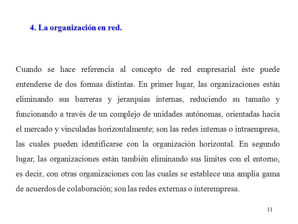 11 Cuando se hace referencia al concepto de red empresarial éste puede entenderse de dos formas distintas.