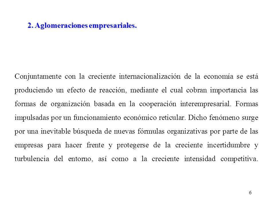 6 Conjuntamente con la creciente internacionalización de la economía se está produciendo un efecto de reacción, mediante el cual cobran importancia las formas de organización basada en la cooperación interempresarial.