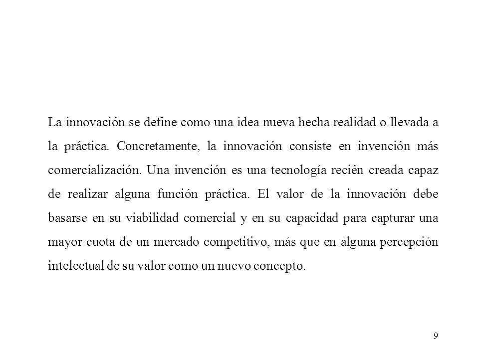 9 La innovación se define como una idea nueva hecha realidad o llevada a la práctica.