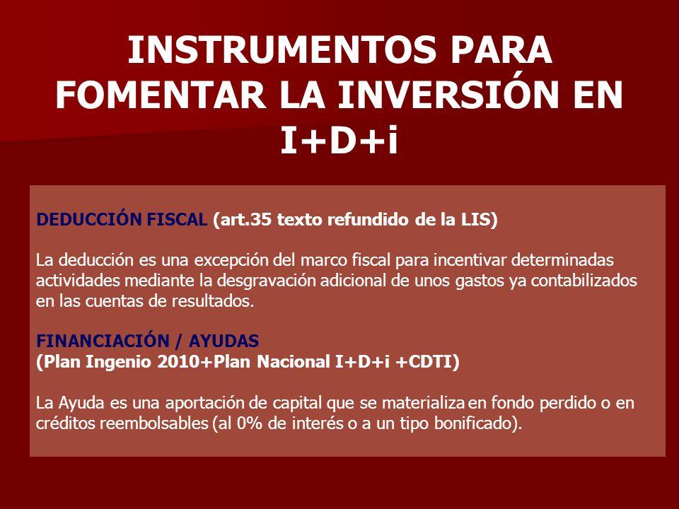 INSTRUMENTOS PARA FOMENTAR LA INVERSIÓN EN I+D+i DEDUCCIÓN FISCAL (art.35 texto refundido de la LIS) La deducción es una excepción del marco fiscal pa