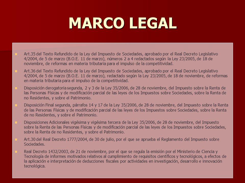 MARCO LEGAL Art.35 del Texto Refundido de la Ley del Impuesto de Sociedades, aprobado por el Real Decreto Legislativo 4/2004, de 5 de marzo (B.O.E. 11