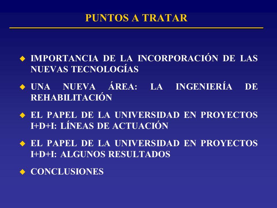 PUNTOS A TRATAR u IMPORTANCIA DE LA INCORPORACIÓN DE LAS NUEVAS TECNOLOGÍAS u UNA NUEVA ÁREA: LA INGENIERÍA DE REHABILITACIÓN u EL PAPEL DE LA UNIVERSIDAD EN PROYECTOS I+D+I: LÍNEAS DE ACTUACIÓN u EL PAPEL DE LA UNIVERSIDAD EN PROYECTOS I+D+I: ALGUNOS RESULTADOS u CONCLUSIONES
