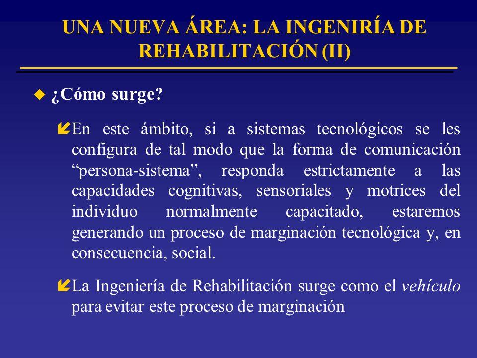 u Definición íUna nueva área de especialización tecnológica desde el punto de vista de las tecnologías de la información aplicadas a la investigación y desarrollo de ayudas técnicas compensatorias para la integración social y la vida independiente de personas discapacitadas y ancianas.