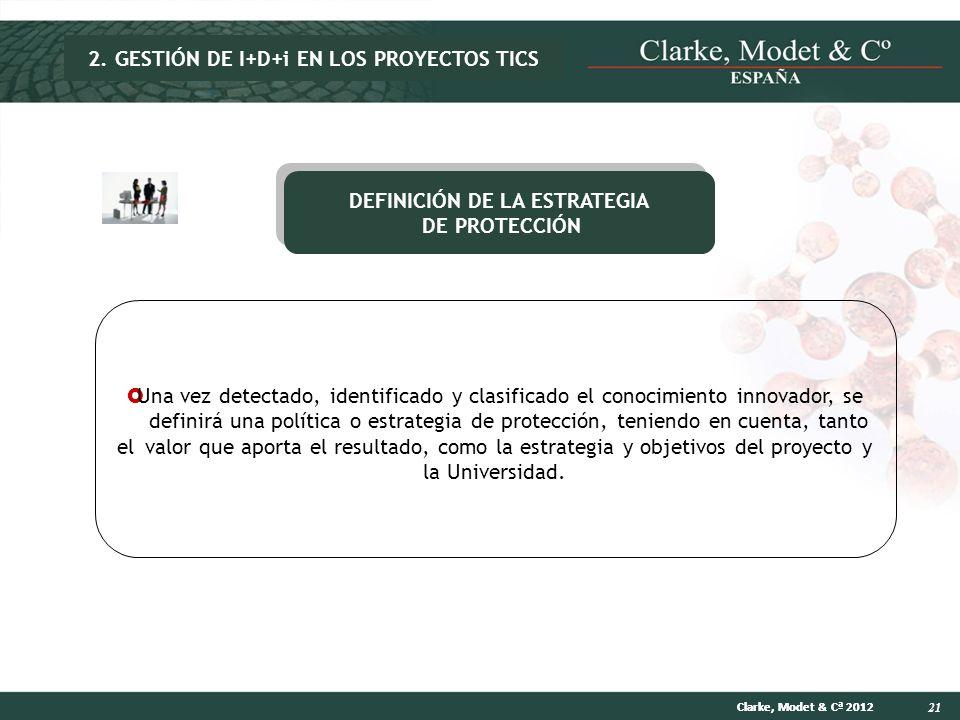 21 Clarke, Modet & Cª 2012 DEFINICIÓN DE LA ESTRATEGIA DE PROTECCIÓN DEFINICIÓN DE LA ESTRATEGIA DE PROTECCIÓN Una vez detectado, identificado y clasi