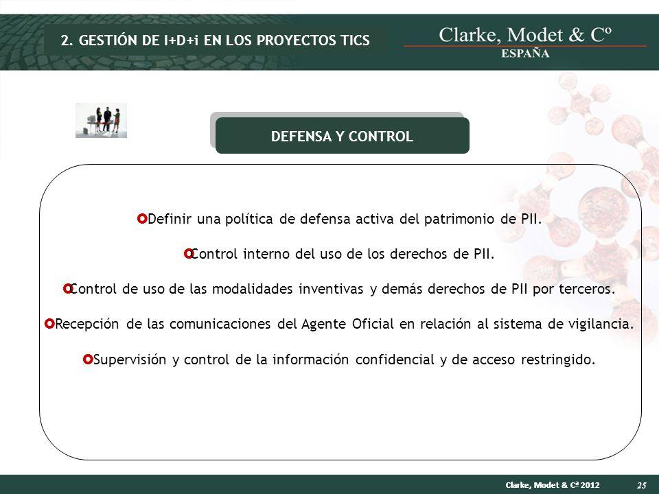 25 Clarke, Modet & Cª 2012 DEFENSA Y CONTROL Definir una política de defensa activa del patrimonio de PII. Control interno del uso de los derechos de