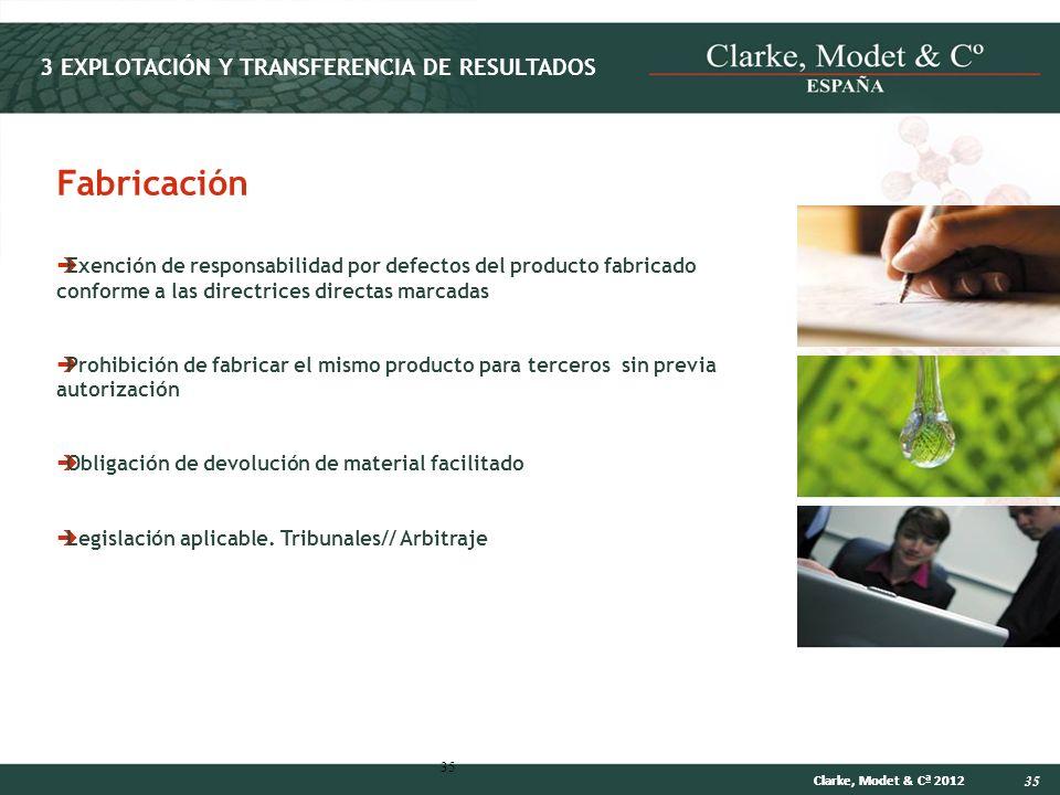 35 Clarke, Modet & Cª 2012 35 Exención de responsabilidad por defectos del producto fabricado conforme a las directrices directas marcadas Prohibición