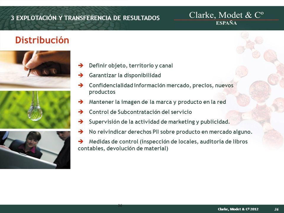 36 Clarke, Modet & Cª 2012 36 Distribución Definir objeto, territorio y canal Garantizar la disponibilidad Confidencialidad información mercado, preci