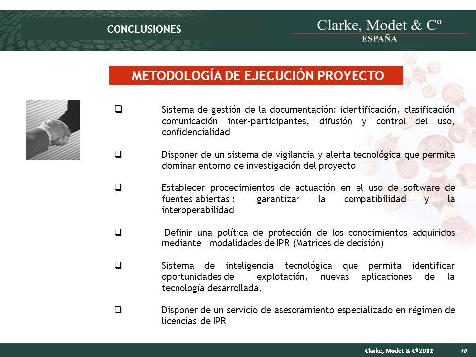 40 Clarke, Modet & Cª 2012Clarke, Modet & Cª 2011 METODOLOGÍA DE EJECUCIÓN PROYECTO Sistema de gestión de la documentación: identificación, clasificac