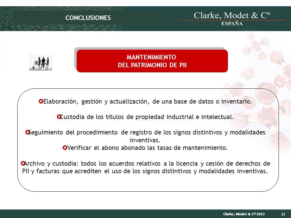 41 Clarke, Modet & Cª 2012 Elaboración, gestión y actualización, de una base de datos o inventario. Custodia de los títulos de propiedad industrial e