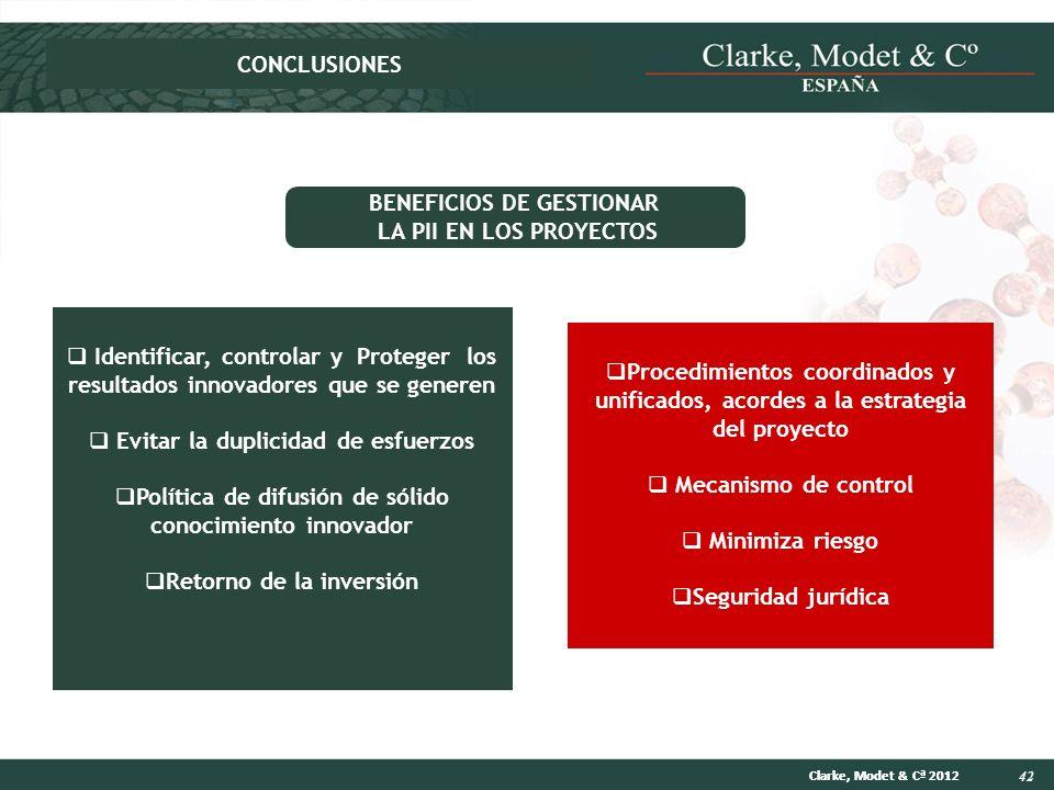42 Clarke, Modet & Cª 2012 Identificar, controlar y Proteger los resultados innovadores que se generen Evitar la duplicidad de esfuerzos Política de d