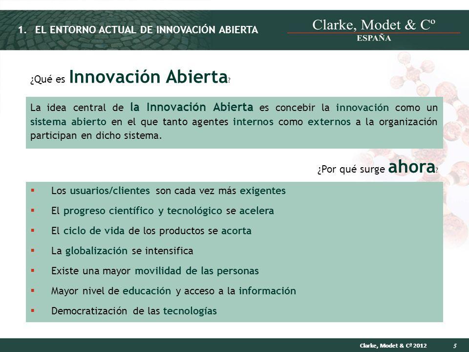 5 Clarke, Modet & Cª 2012 ¿Qué es Innovación Abierta ? La idea central de la Innovación Abierta es concebir la innovación como un sistema abierto en e