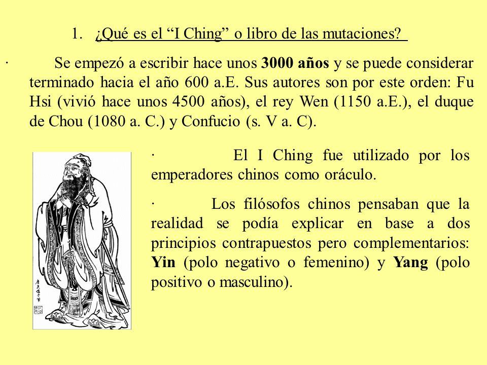 · Considerando la idea de lucha de contrarios, Fu Hsi estableció una biyección entre los polos opuestos y unas líneas: Polo positivo (0) Polo negativo (1) Yin y Yang son representados en una figura cuyo fin es hacerla girar para ver como en la realidad ambos principios actúan como uno solo.