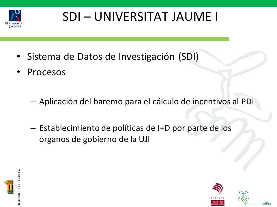 SDI – UNIVERSITAT JAUME I Sistema de Datos de Investigación (SDI) Procesos – Aplicación del baremo para el cálculo de incentivos al PDI – Establecimiento de políticas de I+D por parte de los órganos de gobierno de la UJI