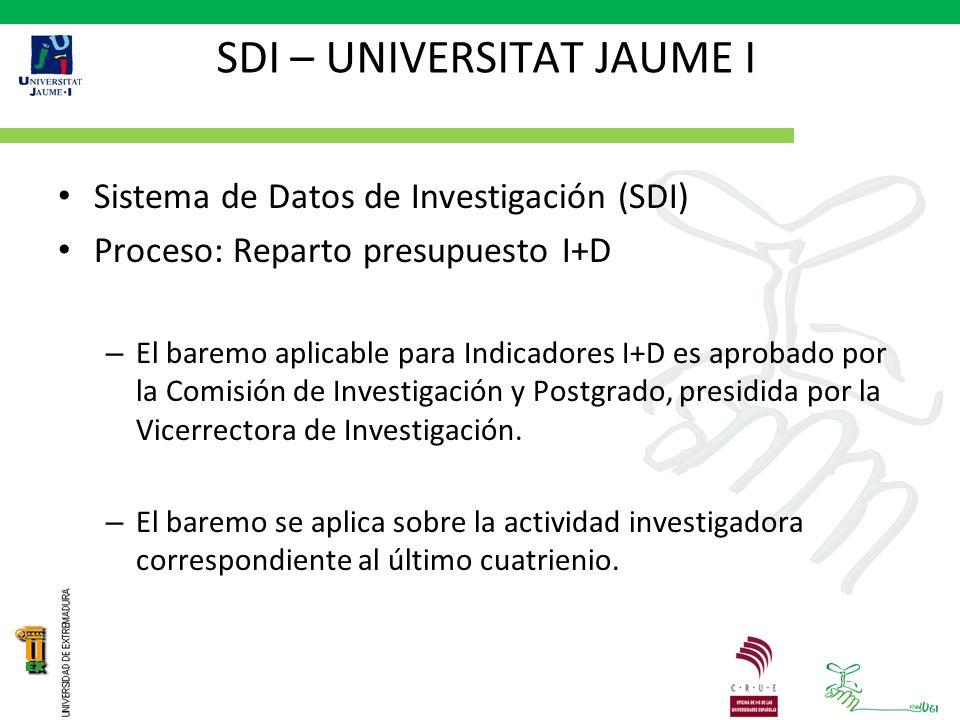 SDI – UNIVERSITAT JAUME I Sistema de Datos de Investigación (SDI) Proceso: Reparto presupuesto I+D – El baremo aplicable para Indicadores I+D es aprobado por la Comisión de Investigación y Postgrado, presidida por la Vicerrectora de Investigación.