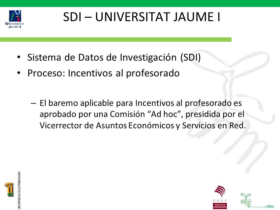 SDI – UNIVERSITAT JAUME I Sistema de Datos de Investigación (SDI) Proceso: Incentivos al profesorado – El baremo aplicable para Incentivos al profesorado es aprobado por una Comisión Ad hoc, presidida por el Vicerrector de Asuntos Económicos y Servicios en Red.