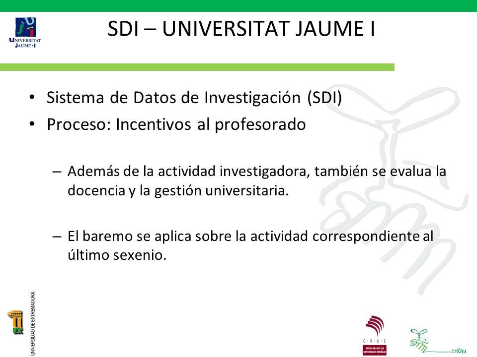 SDI – UNIVERSITAT JAUME I Sistema de Datos de Investigación (SDI) Proceso: Incentivos al profesorado – Además de la actividad investigadora, también se evalua la docencia y la gestión universitaria.