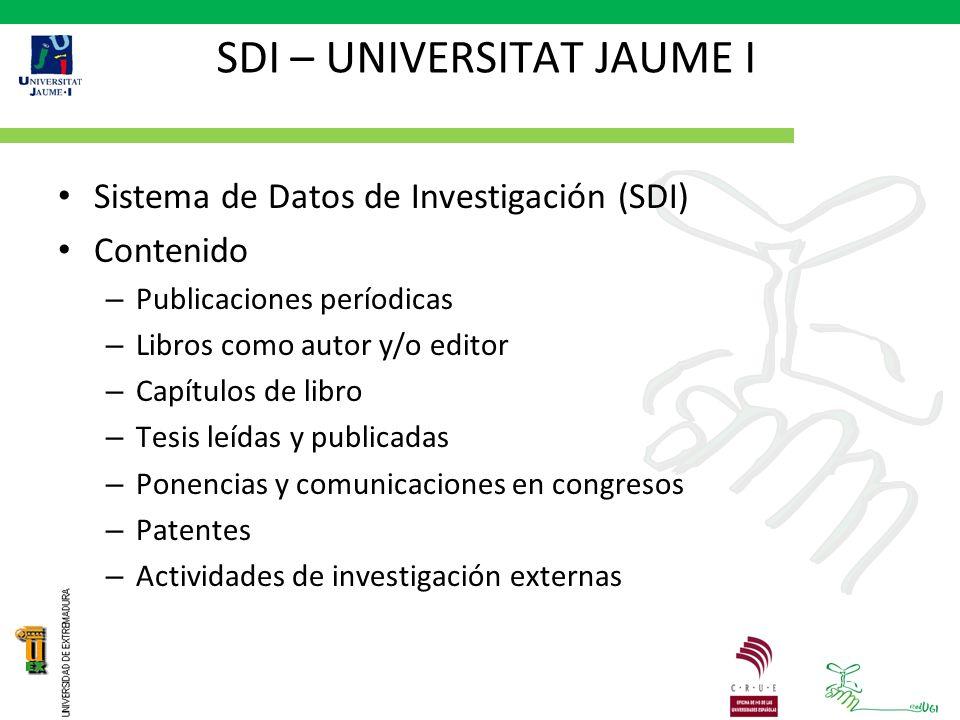 SDI – UNIVERSITAT JAUME I Sistema de Datos de Investigación (SDI) Contenido – Publicaciones períodicas – Libros como autor y/o editor – Capítulos de libro – Tesis leídas y publicadas – Ponencias y comunicaciones en congresos – Patentes – Actividades de investigación externas