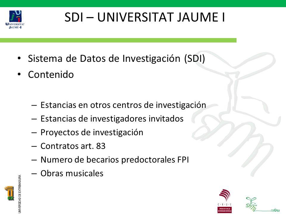 SDI – UNIVERSITAT JAUME I Sistema de Datos de Investigación (SDI) Contenido – Estancias en otros centros de investigación – Estancias de investigadores invitados – Proyectos de investigación – Contratos art.