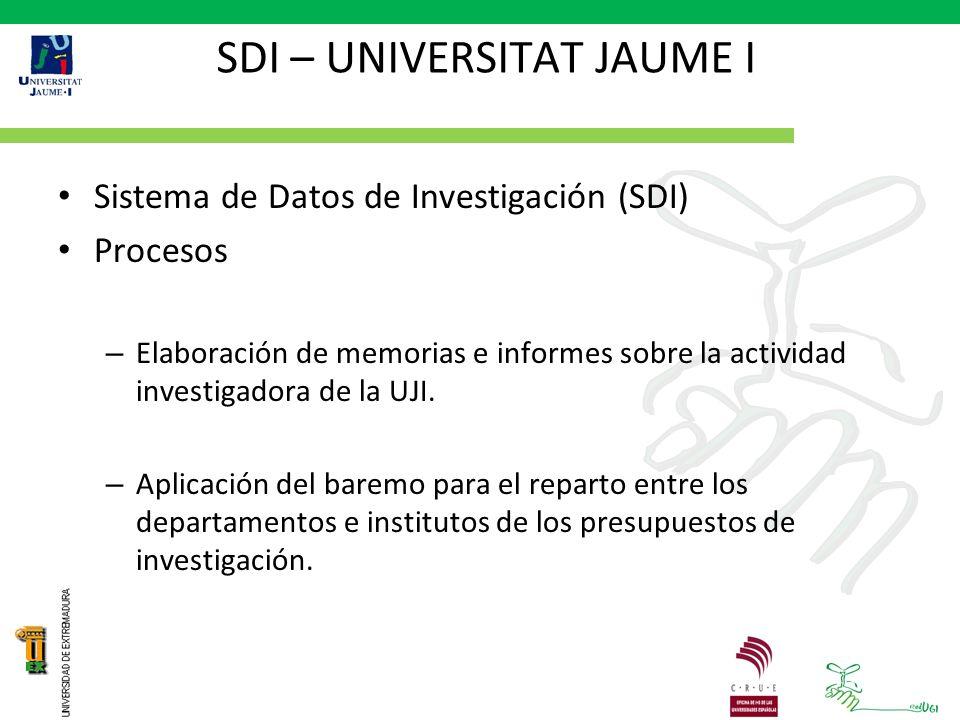 SDI – UNIVERSITAT JAUME I Sistema de Datos de Investigación (SDI) Procesos – Elaboración de memorias e informes sobre la actividad investigadora de la UJI.