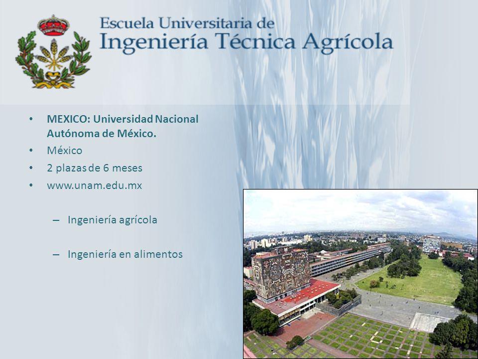 MEXICO: Universidad Nacional Autónoma de México. México 2 plazas de 6 meses www.unam.edu.mx – Ingeniería agrícola – Ingeniería en alimentos
