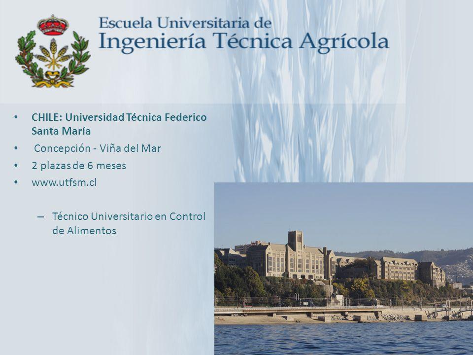 CHILE: Universidad Técnica Federico Santa María Concepción - Viña del Mar 2 plazas de 6 meses www.utfsm.cl – Técnico Universitario en Control de Alime