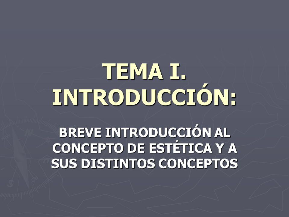 TEMA I. INTRODUCCIÓN: BREVE INTRODUCCIÓN AL CONCEPTO DE ESTÉTICA Y A SUS DISTINTOS CONCEPTOS