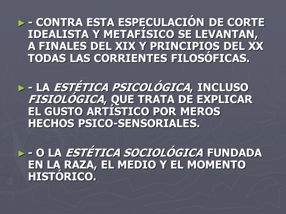- CONTRA ESTA ESPECULACIÓN DE CORTE IDEALISTA Y METAFÍSICO SE LEVANTAN, A FINALES DEL XIX Y PRINCIPIOS DEL XX TODAS LAS CORRIENTES FILOSÓFICAS. - CONT