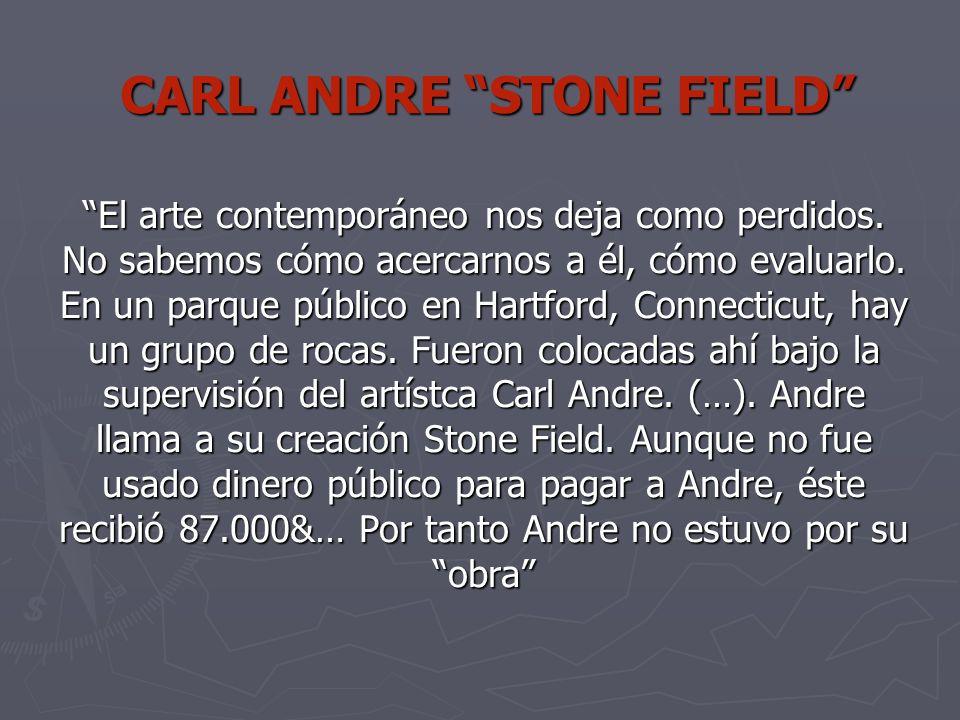 CARL ANDRE STONE FIELD El arte contemporáneo nos deja como perdidos.