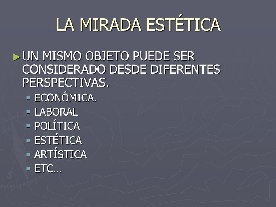 LA MIRADA ESTÉTICA UN MISMO OBJETO PUEDE SER CONSIDERADO DESDE DIFERENTES PERSPECTIVAS.