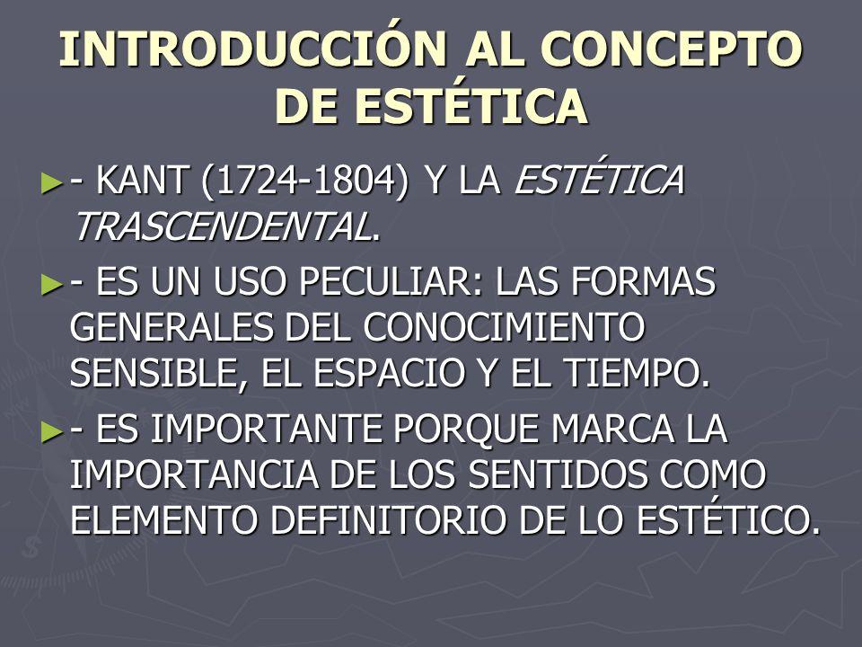 INTRODUCCIÓN AL CONCEPTO DE ESTÉTICA - KANT (1724-1804) Y LA ESTÉTICA TRASCENDENTAL. - KANT (1724-1804) Y LA ESTÉTICA TRASCENDENTAL. - ES UN USO PECUL