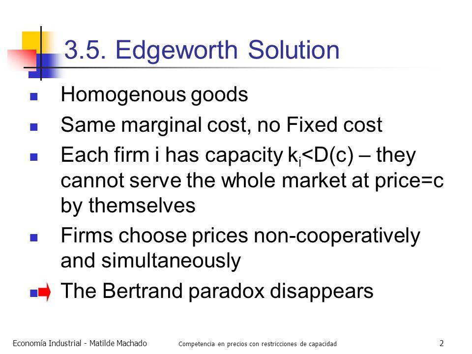 Economía Industrial - Matilde Machado Competencia en precios con restricciones de capacidad 2 3.5. Edgeworth Solution Homogenous goods Same marginal c