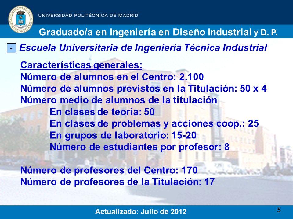 5 Escuela Universitaria de Ingeniería Técnica Industrial - Características generales: Número de alumnos en el Centro: 2.100 Número de alumnos previsto