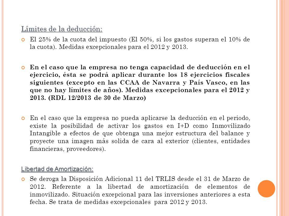 Límites de la deducción: El 25% de la cuota del impuesto (El 50%, si los gastos superan el 10% de la cuota). Medidas excepcionales para el 2012 y 2013