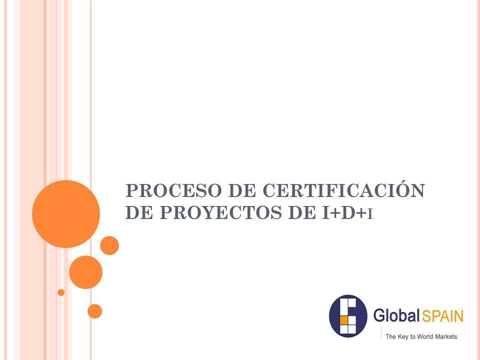 PROCESO DE CERTIFICACIÓN DE PROYECTOS DE I+D+ I