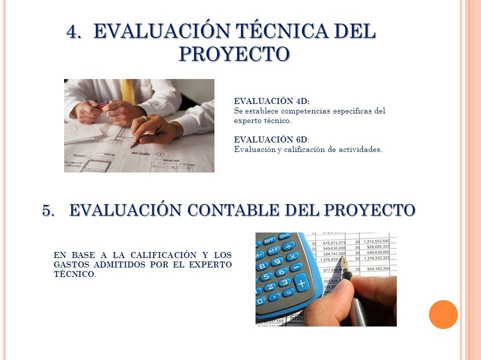 4.EVALUACIÓN TÉCNICA DEL PROYECTO EVALUACIÓN 4D: Se establece competencias específicas del experto técnico. EVALUACIÓN 6D : Evaluación y calificación