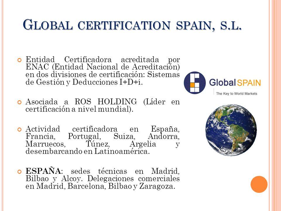 G LOBAL CERTIFICATION SPAIN, S. L. Entidad Certificadora acreditada por ENAC (Entidad Nacional de Acreditación) en dos divisiones de certificación: Si