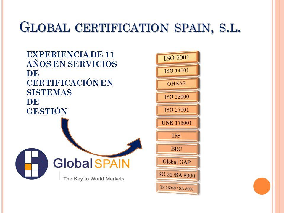 G LOBAL CERTIFICATION SPAIN, S. L. EXPERIENCIA DE 11 AÑOS EN SERVICIOS DE CERTIFICACIÓN EN SISTEMAS DE GESTIÓN