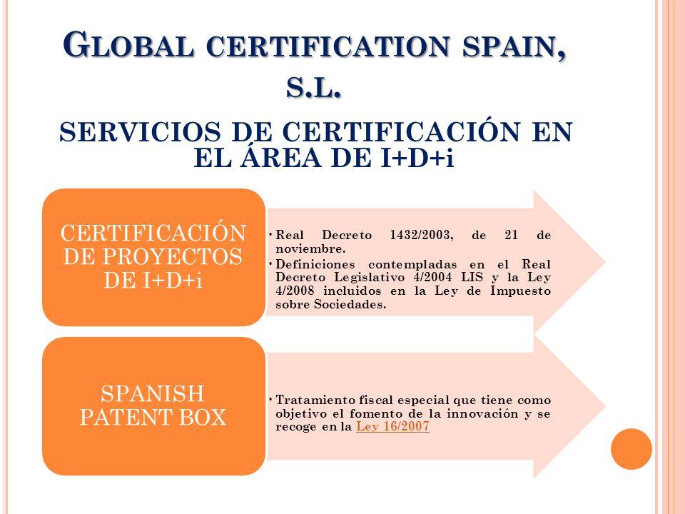 SERVICIOS DE CERTIFICACIÓN EN EL ÁREA DE I+D+i G LOBAL CERTIFICATION SPAIN, S. L. Real Decreto 1432/2003, de 21 de noviembre. Definiciones contemplada