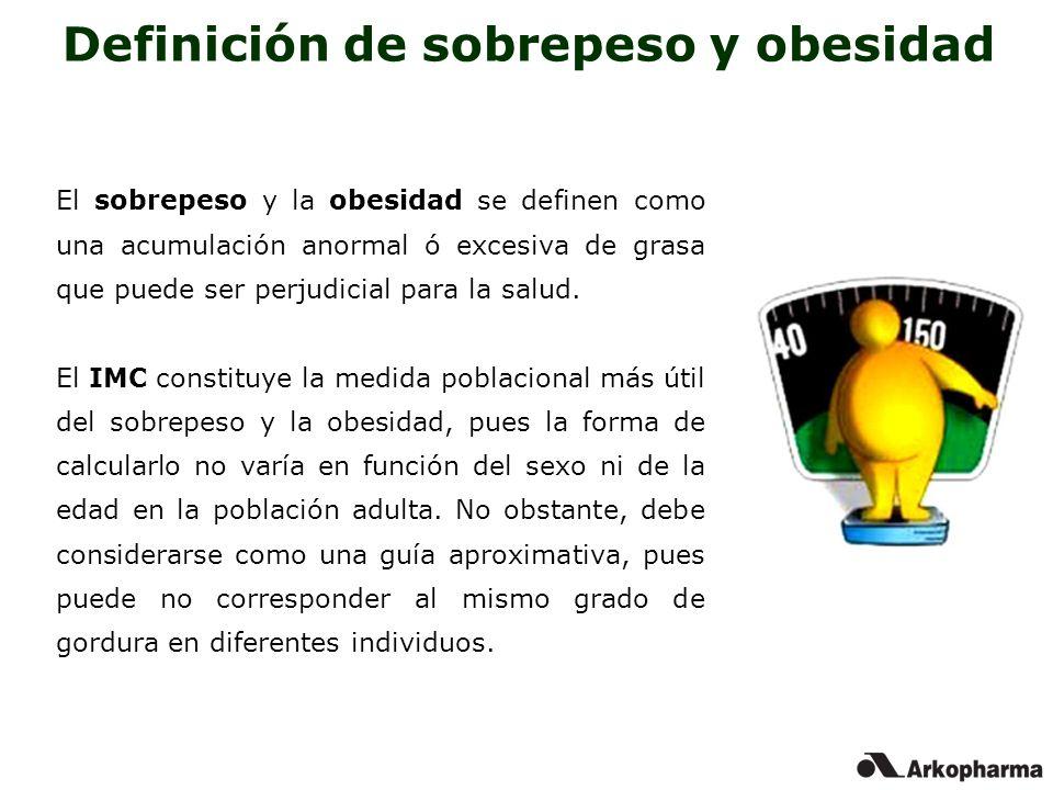Definición de sobrepeso y obesidad El sobrepeso y la obesidad se definen como una acumulación anormal ó excesiva de grasa que puede ser perjudicial pa