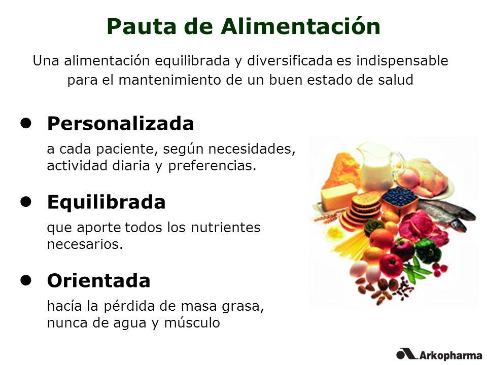 Personalizada a cada paciente, según necesidades, actividad diaria y preferencias. Equilibrada que aporte todos los nutrientes necesarios. Orientada h
