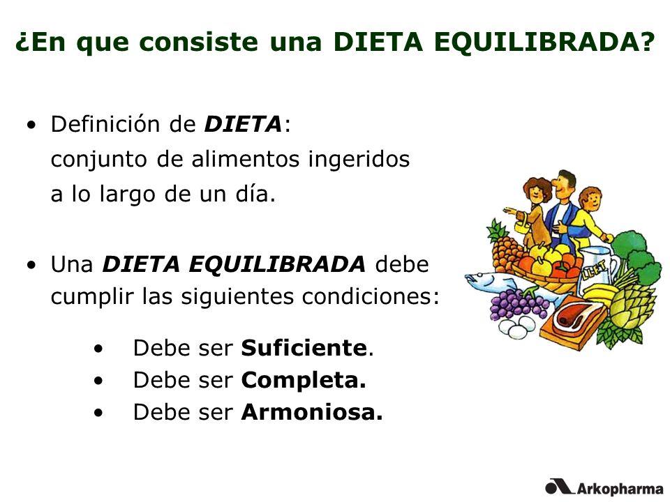 ¿En que consiste una DIETA EQUILIBRADA? Definición de DIETA: conjunto de alimentos ingeridos a lo largo de un día. Una DIETA EQUILIBRADA debe cumplir